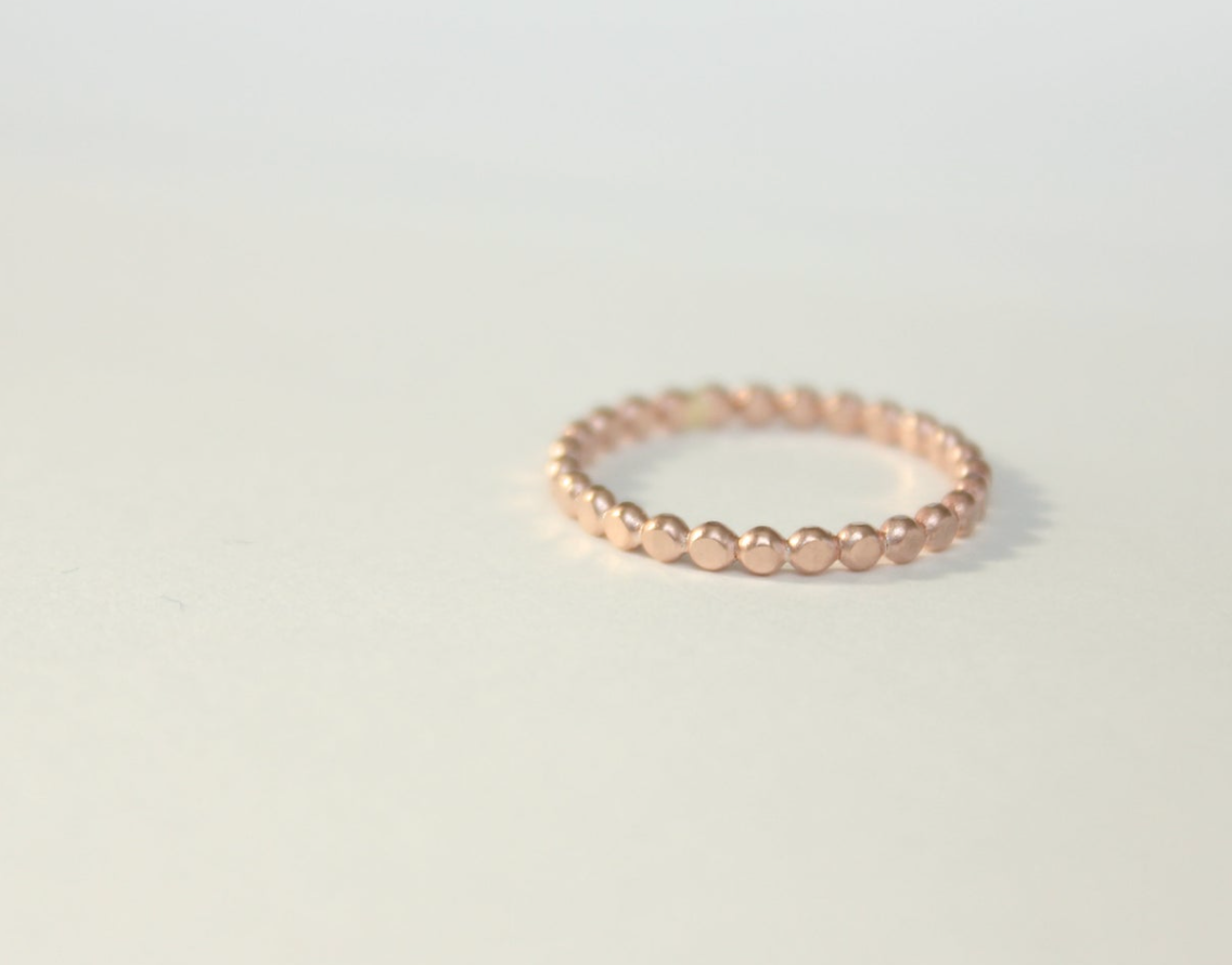 Dotted Band Ring 14k Rose Gold Filled