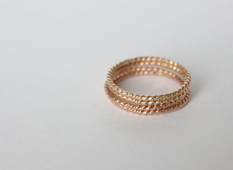 Thin Twisted 14k Rose Gold Filled Ring