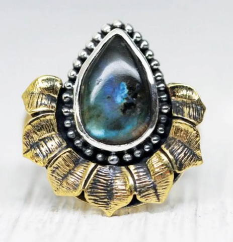 Lotus Labradorite Ring