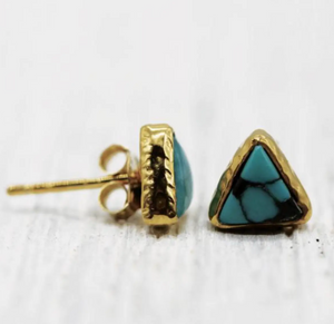 Petit Pyramid Studs Turquoise and Gold