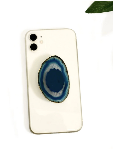Gold Agate Phone Grip-Teal