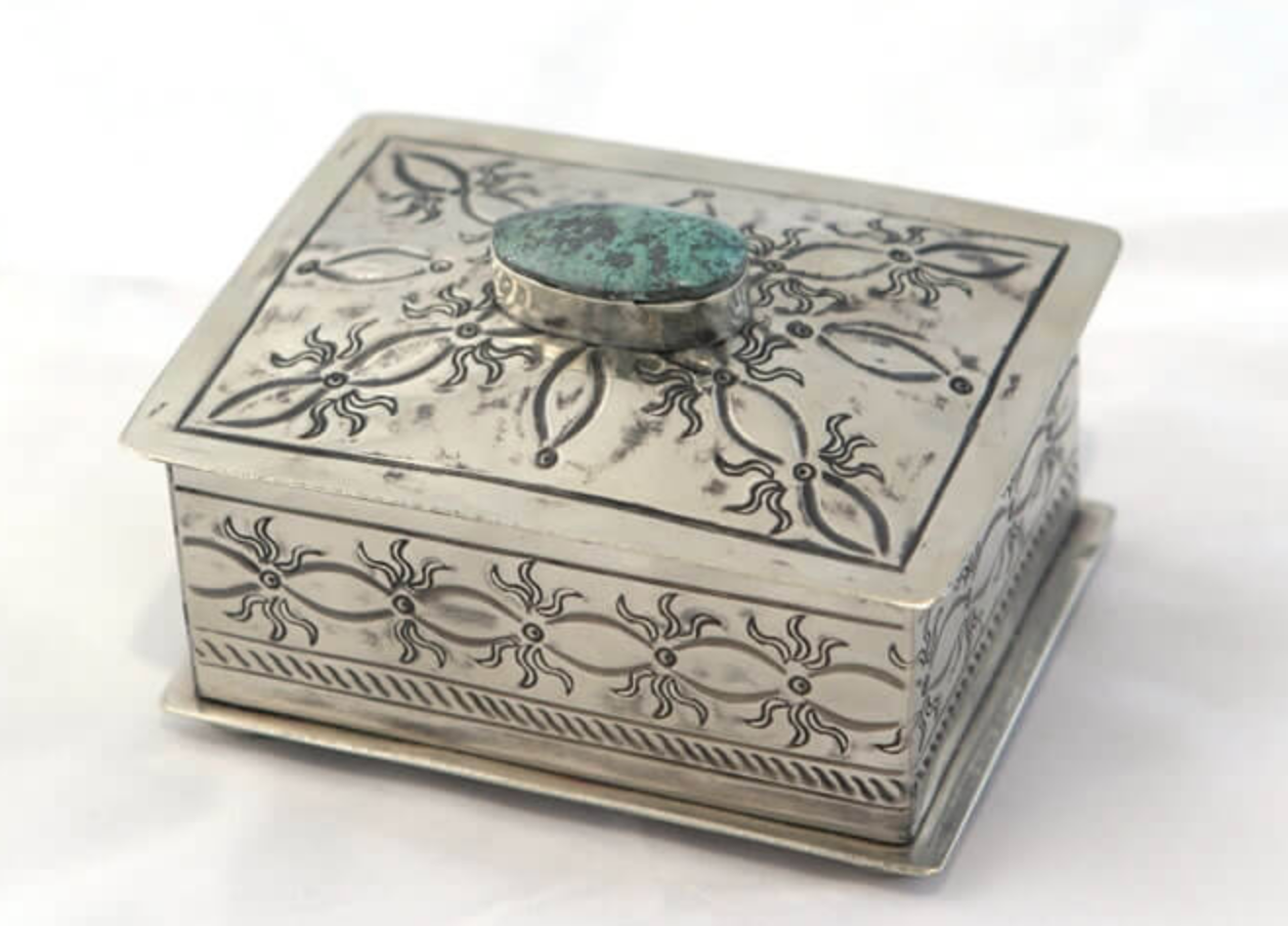 Small Stamped box with Turquoise #1