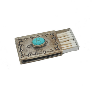 Small Stamped Matchbox with Turquoise