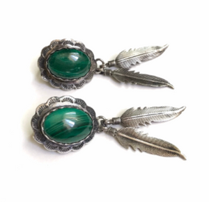 Malachite concho feather earrings