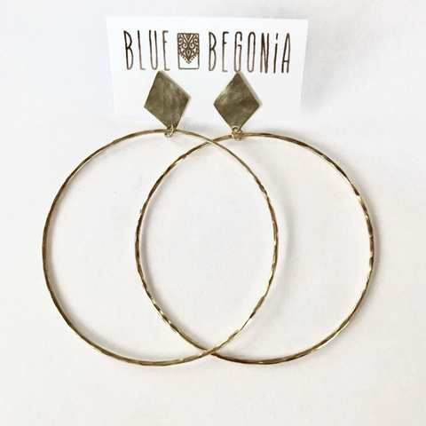 Medium hoop earrings with diamond post