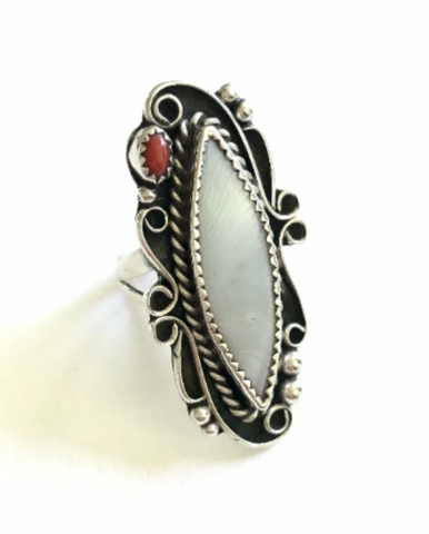 Mother of Pearl and Coral ring, size 5