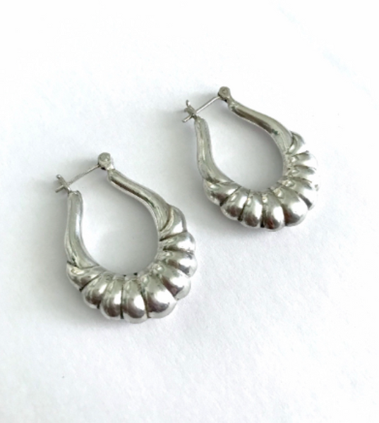 Sterling Silver Puff Hoop Earrings
