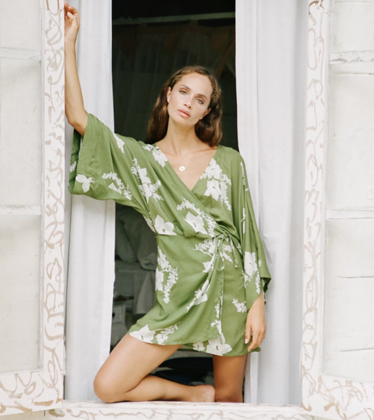 Sabrina Kimono Mini Dress Green Tea
