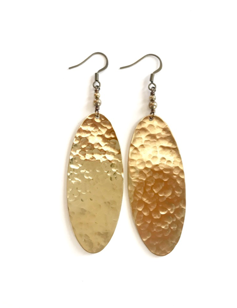 Large hammered brass oval earrings