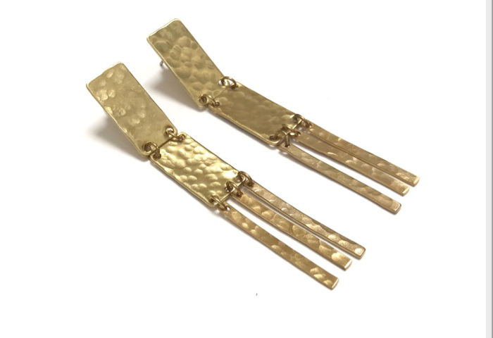 Brass double rectangle post earrings with fringe