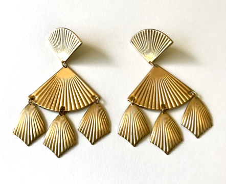 Large ribbed fan post earrings with shield drops