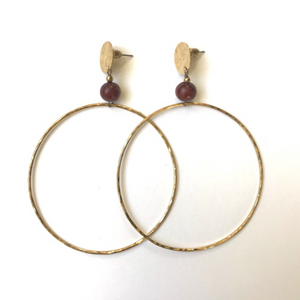 Large hoop earrings with round post and wood bead