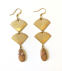 Double ribbed fan earrings with jasper drop