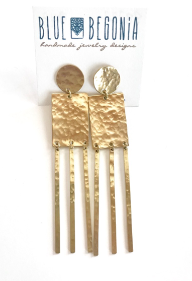 Large brass rectangle earrings with fringe and round post