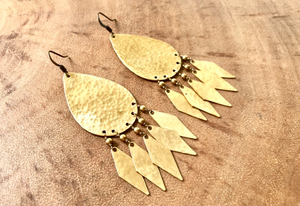 Brass pear shaped diamond fringe earrings