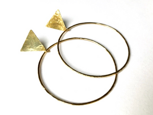 Medium brass triangle post hoop earrings