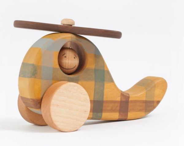Wooden Checkered Helicopter Toy