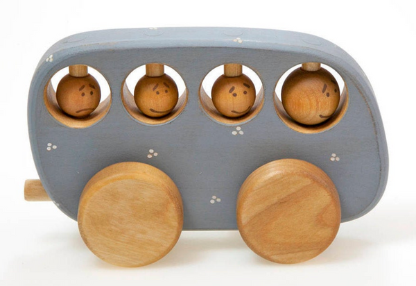 Wooden Rustic Blue Bus Toy