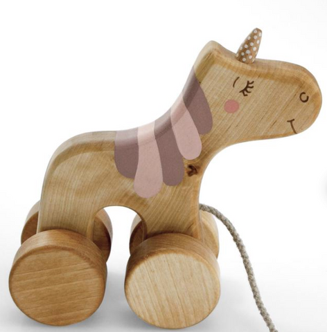 Wooden Unicorn Pull Toy