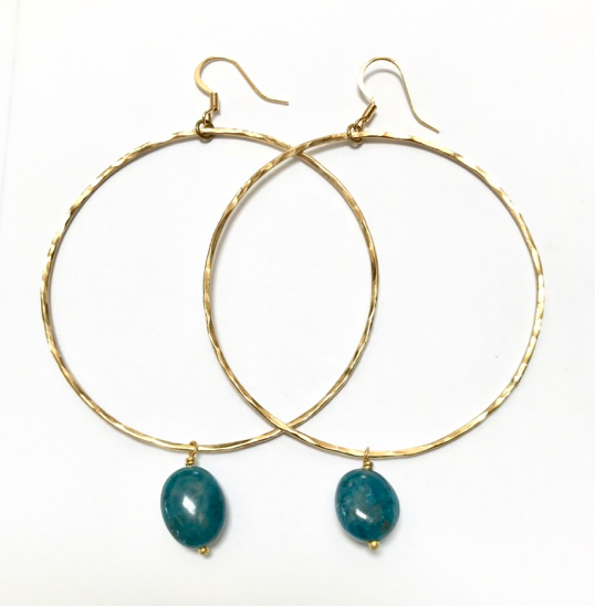 Large hoop earrings with Chrysocolla drop
