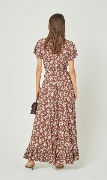 Matilda Fleur Wrap Maxi Dress Brown