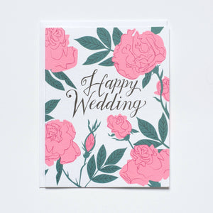 Banquet Workshop - Pastel Neon Roses Wedding Note Card
