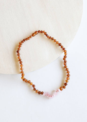 Kids: Raw Cognac Amber + Raw Rose Quartz || Necklace