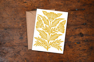 Yellow Floral Block Printed Blank Card
