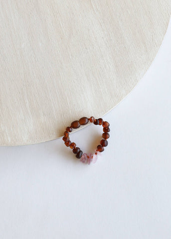 CanyonLeaf - Kids: Raw Cognac Amber + Raw Rose Quartz || Bracelet