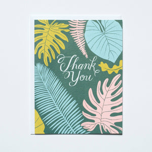 Banquet Workshop - Tropical Leaves Thank You Card