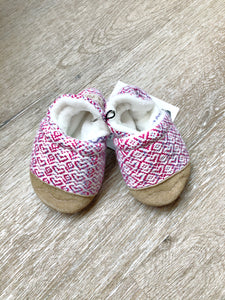 Pink Woven Hearts Soft Soled Baby Shoes