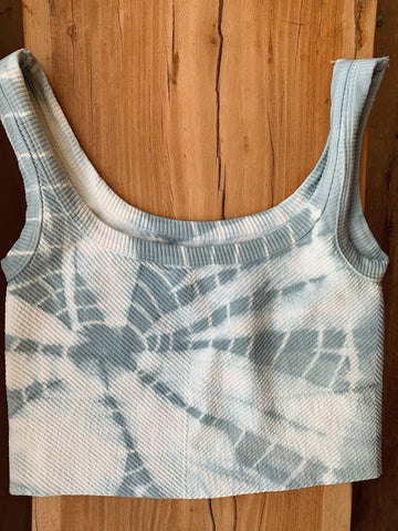 Blue Sufi Tie Dye Chevron Crop Top