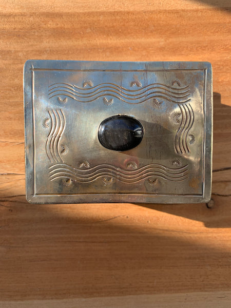 Small Stamped box with Onyx