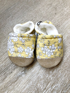 Yellow Floral Soft Soled Baby Shoes