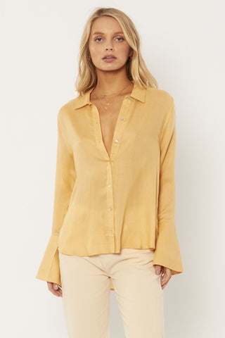 Tay Long Sleeve Woven Blouse - Champagne