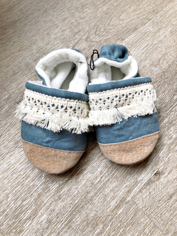 Cottage Blue Linen Fringe Soft Soled Baby Shoes with Leather Heel