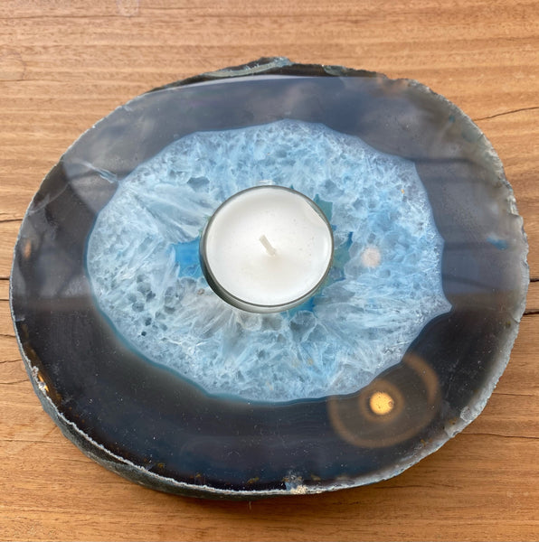 Thick slab agate candle holders