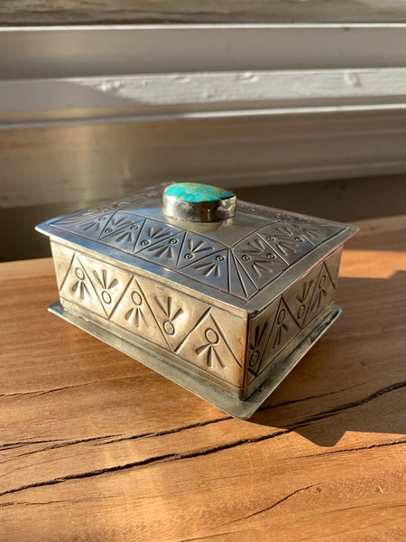 Small Stamped box with Turquoise #2
