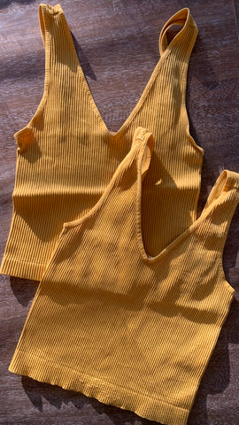 Marigold V Neck Ribbed Crop Top
