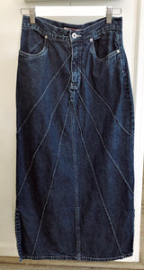 Stitched Long Denim Skirt