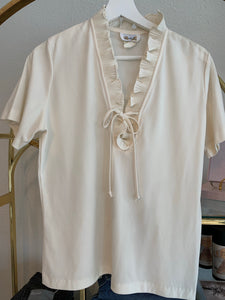Cream ruffle collar blouse