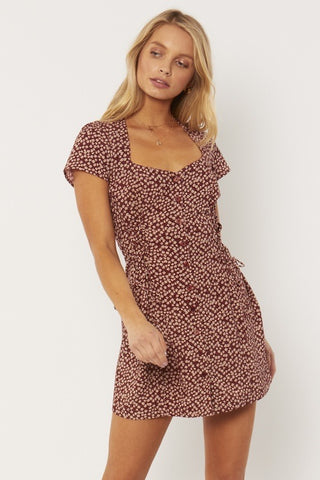 Rayne Woven Mini Dress - Shag Brown