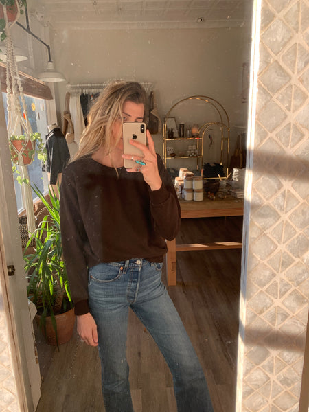 Yakama Cropped Sweatshirt Espresso Brown