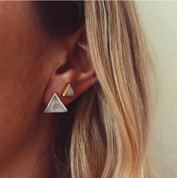 Grand Sacred Geometry Studs - Moonstone and Gold