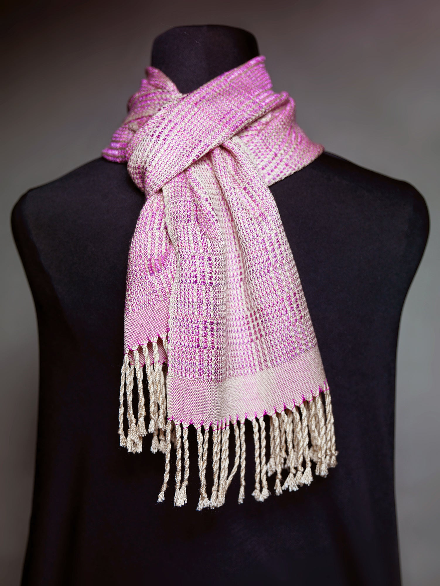 Purple hand painted silk scarf