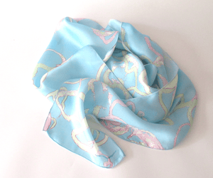 Pale vines printed silk scarf