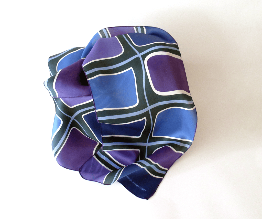 Purple and blue colour block printed silk scarf