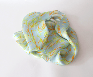 Scribble printed silk scarf