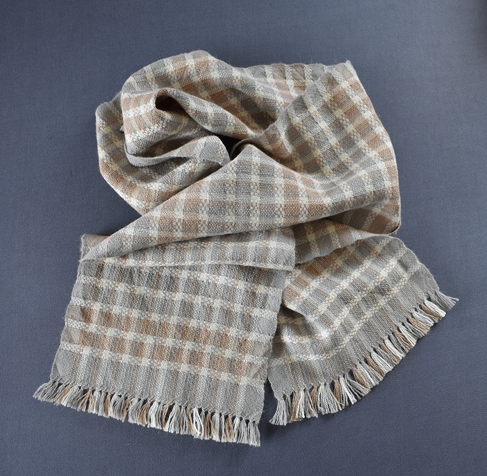 Checked alpacca and silk scarf