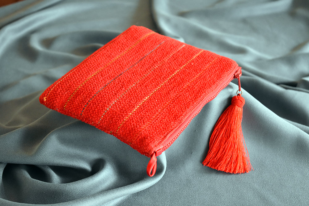 Chenille and pure silk woven clutch